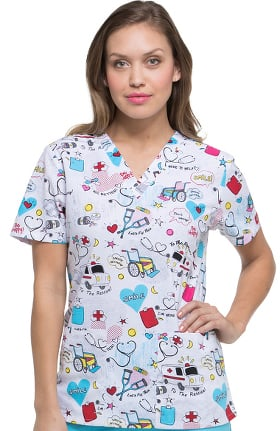 EDS Signature by Dickies Women's V-Neck First Responder Print Scrub Top