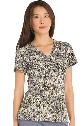 Xtreme Stretch by Dickies Women's Mock Wrap Camo Print Scrub Top