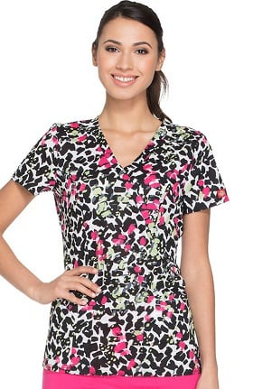 Fashion Prints by Dickies Women's Mock Wrap Animal Print Scrub Top