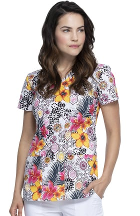 Clearance EDS Essentials by Dickies Women's Leopard Jungle Print Scrub Top