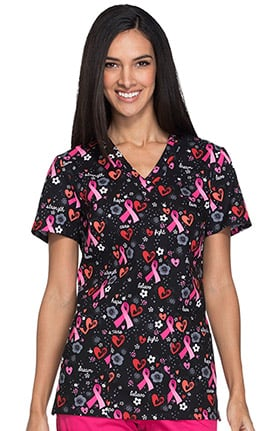 Fashion Prints by Dickies Women's V-Neck Ribbon Print Scrub Top