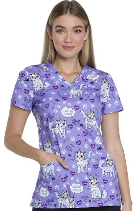 EDS Essentials by Dickies Women's V-Neck Cat Print Scrub Top