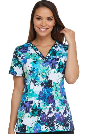 Clearance EDS Signature by Dickies Women's V-Neck Floral Print Scrub Top