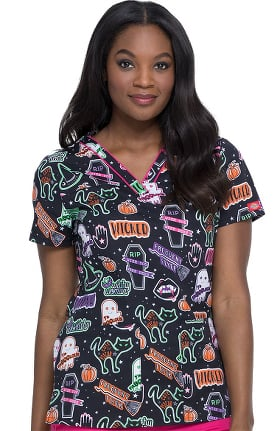 EDS Signature by Dickies Women's V-Neck Witchy Woman Print Scrub Top