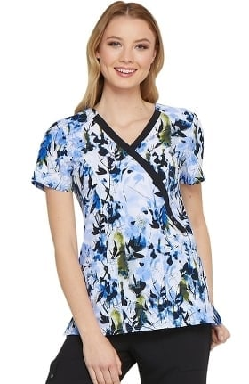 Clearance Fashion Prints by Dickies Women's Mock Wrap Abstract Print Scrub Top