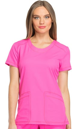 Clearance Dynamix by Dickies Women's Round V-Neck Solid Scrub Top