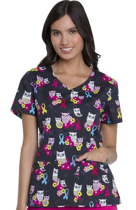 EDS Essentials by Dickies Women's V-Neck Owl Print Scrub Top