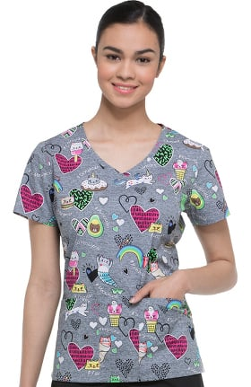 EDS Signature by Dickies Women's V-Neck Cat Print Scrub Top