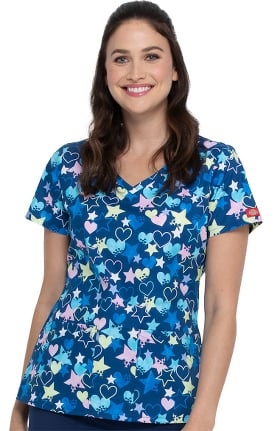 EDS Essentials by Dickies Women's Starry Eyed Love Print Scrub Top
