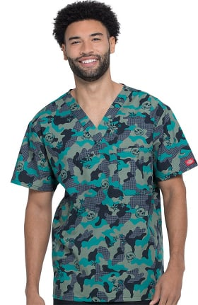 Clearance EDS Signature by Dickies Men's V-Neck Crosshatch Camo Print Scrub Top