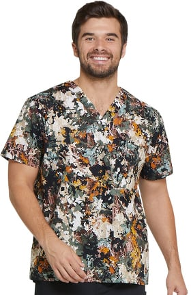 Clearance EDS Signature by Dickies Men's V-Neck Botanical Print Scrub Top