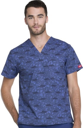 Clearance EDS Essentials by Dickies Men's V-Neck Shark Print Scrub Top