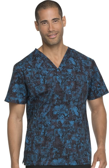 93c6acb35819ea EDS Signature by Dickies Men's V-Neck Abstract Print Scrub Top