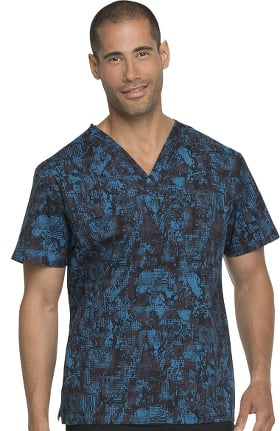 EDS Signature by Dickies Men's V-Neck Abstract Print Scrub Top