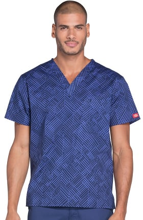 Everyday Scrubs Signature by Dickies Men's V-Neck Geometric Print Scrub Top