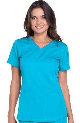 Clearance Dynamix by Dickies Women's V-Neck Solid Scrub Top