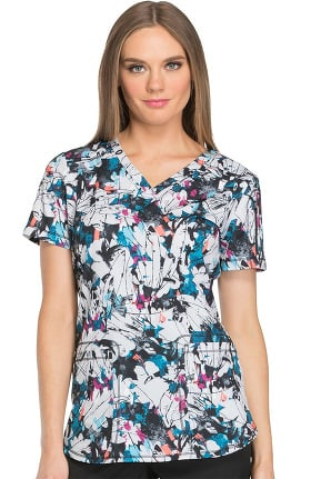 Fashion Prints by Dickies Women's V-Neck Abstract Print Scrub Top