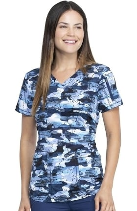 Dynamix by Dickies Women's Stone Cold Camo Navy Print Scrub Top