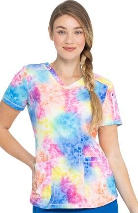 Clearance Dynamix by Dickies Women's Totally Tie Dye Print Scrub Top