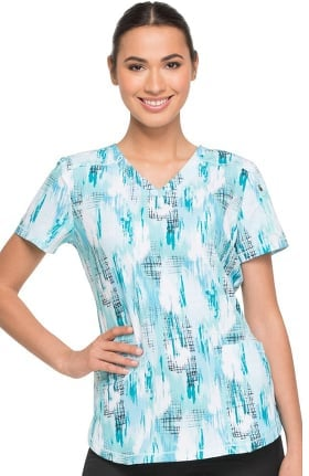 Clearance Fashion Prints by Dickies Women's V-Neck Tropical Print Scrub Top