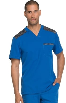 Dynamix by Dickies Men's Contrast V-Neck Solid Scrub Top