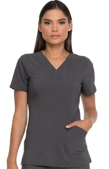 Advance by Dickies Women's V-Neck Patch Pocket Solid Scrub Top