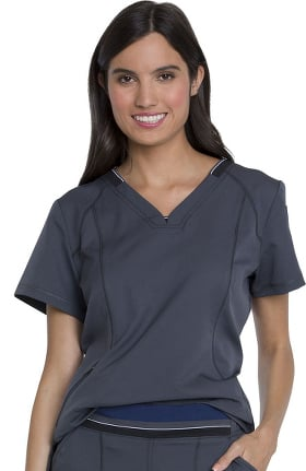 Dynamix by Dickies Women's V-Neck Tuck-In Solid Scrub Top