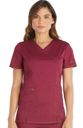 Clearance Essence by Dickies Women's Mock Wrap Solid Scrub Top