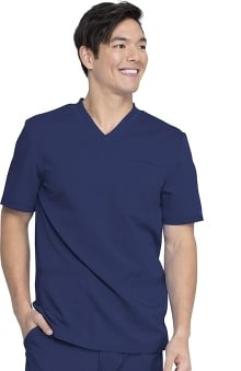 Balance by Dickies Men's Knitted Panel Solid Scrub Top