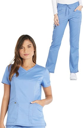 Clearance Essence by Dickies Women's V-Neck Solid Scrub Top & Straight Leg Drawstring Scrub Pant Set