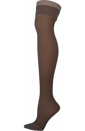 Global Health Women's 20-30 mmHg Compression Extra Firm Lace Top Thigh High Stockings