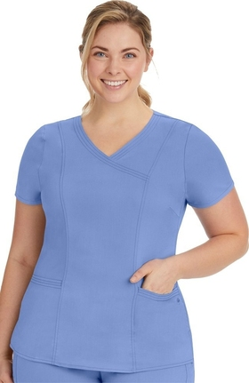 Purple Label Modern Fit by Healing Hands Women's Jordan Mock Wrap Solid Scrub Top