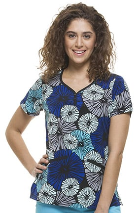 Premiere by Healing Hands Women's Isabel Sweetheart Neck Floral Print Scrub Top