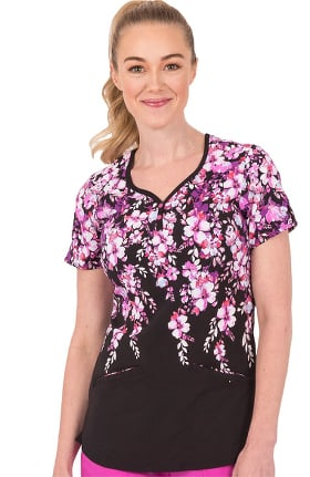 Premiere by Healing Hands Women's Isabel Sweetheart Blossom Print Scrub Top