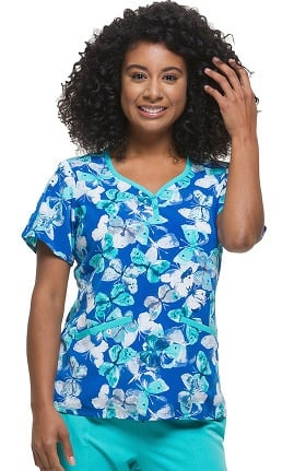 Premiere by Healing Hands Women's Isabel Sweetheart Neck Butterfly Print Scrub Top