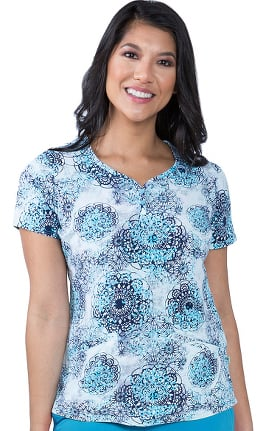 Clearance Premiere by Healing Hands Women's Isabel Dreamy Lace Print Scrub Top