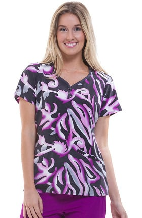 Premiere by Healing Hands Women's Isabel Sweetheart Neck Abstract Print Scrub Top
