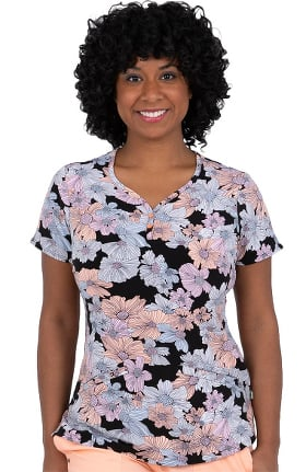 Premiere by Healing Hands Women's Isabel Sweetheart Field Of Flowers Print Scrub Top