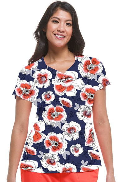 390bba0eb1b Women's Isabel Sweetheart Neck Floral Print Scrub Top. Premiere by Healing  Hands ...
