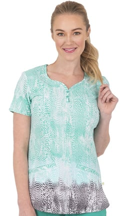 Clearance Premiere by Healing Hands Women's Isabel Sweetheart Natures Way Print Scrub Top