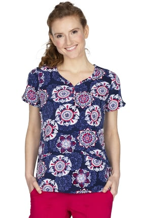 Premiere by Healing Hands Women's Isabel Vintage Medallion Print Scrub Top