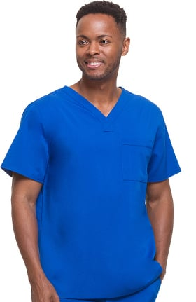 Clearance Blue Label for Men by Healing Hands Men's James V-Neck Solid Scrub Top