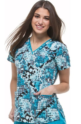 Clearance Purple Label Modern Fit by Healing Hands Women's Amanda V-Neck Geometric Print Scrub Top