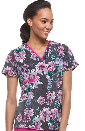 Purple Label Modern Fit by Healing Hands Women's Amanda V-Neck Floral Print Scrub Top
