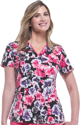 Clearance Purple Label Modern Fit by Healing Hands Women's Amanda V-Neck Floral Print Scrub Top