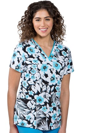 Clearance Premiere by Healing Hands Women's Amanda Modern Bloom Print Scrub Top