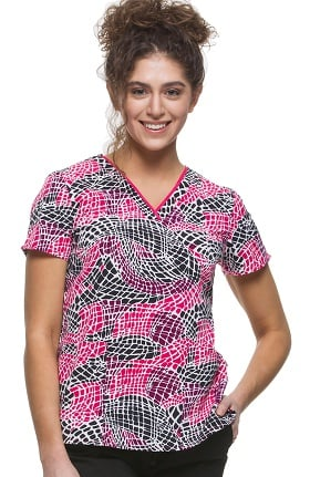Clearance Premiere by Healing Hands Women's Amanda V-Neck Geometric Print Scrub Top