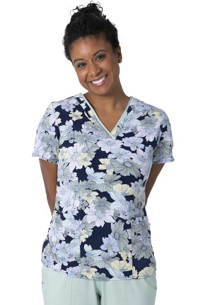 Clearance Premiere by Healing Hands Women's Amanda Sage Field Of Flowers Print Scrub Top