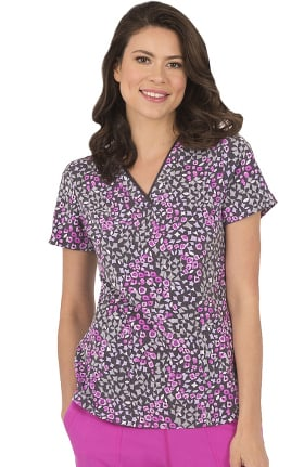 Clearance Premiere by Healing Hands Women's Amanda Wild Mix Print Scrub Top