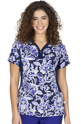 Premiere by Healing Hands Women's Jessi Folklore Floral Print Scrub Top